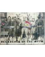 Enrico Pambianchi, The decadence of the myth, tecnica mista e collage su tela con teca di plexiglass, 70x50 cm
