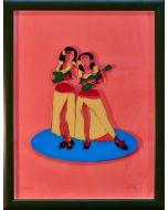 Marco Lodola, Ballerine Hawaiane, litografia su plexiglass, 66x50 cm con cornice, 62x46 cm senza cornice