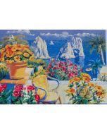 Giorgio Cesati, Estate a Capri, serigrafia su tela, 55x40 cm