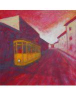 Andrea Ferrari Bordogna, Dalla periferia, olio su carta intelata, 32x32 cm