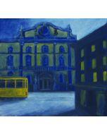 Andrea Ferrari Bordogna, Davanti al palazzo, olio su carta intelata, 38x41 cm