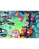 La Pupazza, Donne che soffiano l'occhio, acrilico e spray su carta, 50x70 cm
