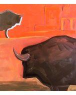 Carlo Massimo Franchi, Tori all'Alhambra, olio su tela, 39.8x49.5 cm