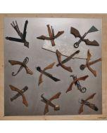 Giulio Ciampi, Storni, ferri su acciaio e legno, 110x110 cm, 2019