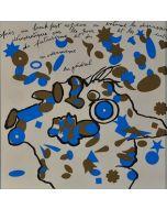 Enrico Baj, Breakfast, litografia a colori e collage 38x38 cm, 1972