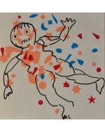 Enrico Baj, Figure, litografia a colori e collage 38x38 cm, 1972