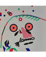 Enrico Baj, O.B.M., litografia a colori e collage 38x38 cm, 1972