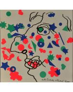 Enrico Baj, Pour ou contre, litografia a colori e collage 38x38 cm, 1972