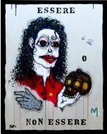 Yux, Essere o non essere M, acrilico, pastelli a cera, smalto e manifesti su tela, 80x100 cm