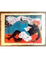 Salvatore Fiume, Europa e il Toro, serigrafia su carta paglia, 70x50 cm
