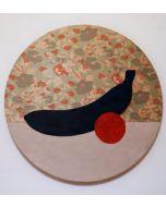 Fè, Banana Tiama Natura Morta con Arancia, Acrilico su tessuto broccato tesato su telaio, 80 cm, 2020