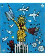 Yux, Fly Milan, acrilico, pastelli a cera, manifesti su tela, 110x125 cm