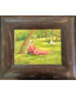 Daniela Penco, Donna in giardino, olio su cartone telato, 24x18 cm (39x33cm con cornice)
