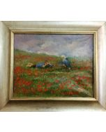 Daniela Penco, Chiacchiere in un campo di papaveri, olio su tela, 24x30 cm (37x43cm con cornice)