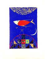 Meloniski da Villacidro, Pesce Astrale, serigrafia e collage ritoccata a mano, 56x76 cm