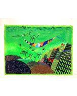 Meloniski da Villacidro, L'arca della felicità, serigrafia e collage ritoccata a mano su tela, 70x50 cm