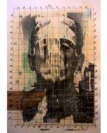 Enrico Pambianchi, Franky, disegno e collage su carta, 25x36 cm, 2016