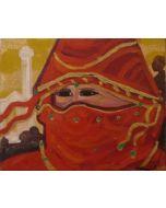 Carlo Massimo Franchi, Principessa, olio su broccato d'oro, 30x24cm