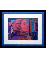 Carlo Massimo Franchi, Gae Aulenti, tecnica mista su plexiglass opalino, 37x50 cm
