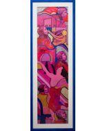 Carlo Massimo Franchi, Gae, tecnica mista su plexiglass opalino, 198x44,5 cm