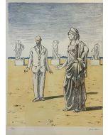 Giorgio De Chirico, Diana e il professore, litografia, 50x64 cm
