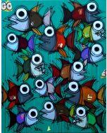 Yux, Go Fishes, acrilico pastelli a cera e manifesti su tela, 80x100 cm