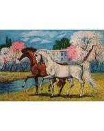 Giovan Francesco Gonzaga, Cavalli a primavera, acquaforte a colori, 60x80 cm