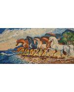 Giovan Francesco Gonzaga, Corsieri sulla costa brava, serigrafia materica, 100x70 cm