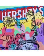 Andrew Tosh, Herchey's, tecnica mista su tela, 100x100 cm