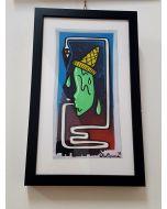 La Pupazza, Il gelato umano, acrilico e spray su carta, 23x37,5 cm (con cornice)