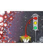 La Pupazza, Il semaforo sugo, acrilico e spray su carta, 50x70 cm