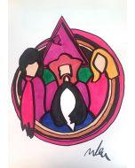Marco Lodola, Pink Floyd, disegno su carta, 30x42 cm