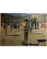 Enrico Pambianchi, Circus, collage, olio, acrilico, matite, gessetti, resine su cartone d'arazzo, 180x165 cm