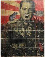 Enrico Pambianchi, Generale, collage, olio, acrilico, matite, gessetti, resine su cartone d'arazzo, 110x150 cm