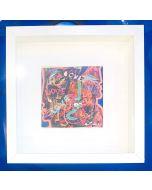 Carlo Massimo Franchi, Love Kalos, tecnica mista su cartoncino, 10x10 cm (25,5x25,5 cm con cornice)