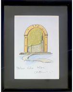 Carlo Massimo Franchi, The future goes from here, bozzetto su carta, 23x28 cm (31x39 cm con cornice)