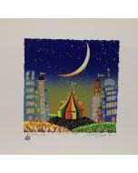 Meloniski da Villacidro, Il Circo dei due Villaggi, serigrafia e collage ritoccata a mano, 35x35 cm