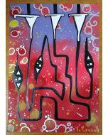 La Pupazza, Imbuti magici, acrilico e spray su carta, 21x29.5 cm