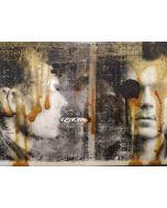 Enrico Pambianchi, Foto segnaletica, collage, olio, acrilico, matite, gessetti e resine su carta fotografica, 29,5x21 cm
