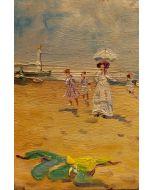 Scuola Impressionista, Donne sulla spiaggia, olio su tavola, 12x8 cm