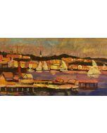 Scuola Francese, Porto al tramonto, olio su tavola, 16,5x12 cm