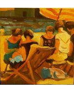 Scuola Francese, Domenica pomeriggio, olio su tavola, 10x10 cm