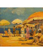 Scuola Francese, Pomeriggio alla spiaggia, olio su tavola, 10x10 cm