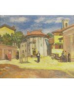 Scuola Francese, Mattinata al borgo, Olio su tavola, 21x17,5 cm