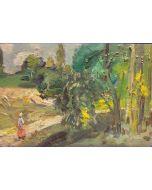 Scuola Francese, Campagna, Olio su tavola, 14,5x22 cm