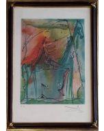 Salvador Dalì, Il cavallo della morte, litografia, 36x56 cm (43x62 cm con cornice)