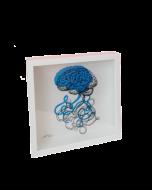 Loris Dogana, Plug and Play (cervello), grafica in vitro, 27x27x6 cm (con cornice)
