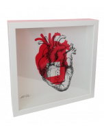Loris Dogana, Plug and Play (cuore), grafica in vitro, 27x27x6 cm (con cornice)