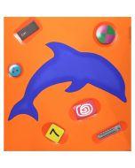 """Renzo Nucara, serigrafia polimaterica (delfino blu su sfondo arancio), 30x30 cm, tratto dalla cartella """"Still life"""", 2015"""