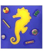 """Renzo Nucara, serigrafia polimaterica (cavalluccio giallo su sfondo blu), 30x30 cm, tratto dalla cartella """"Still life"""", 2015"""